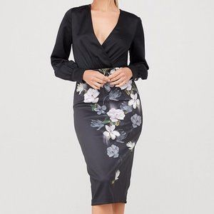 Ted Baker Alithea Black MIDI DRESS, NEW, SZ 8-10